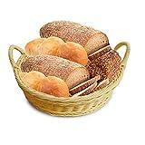 yodaliy Vintage Round Imitation Rattan Wicker Bread Basket Storage Hamper Display Trays Practical Beige Holder Hand Woven Storage Basket for Food Storage