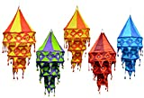 5pcs-25pcs Indian Ethnic Multi Color Hanging Lamps shades Mirror Work Home Decor 3 Layer