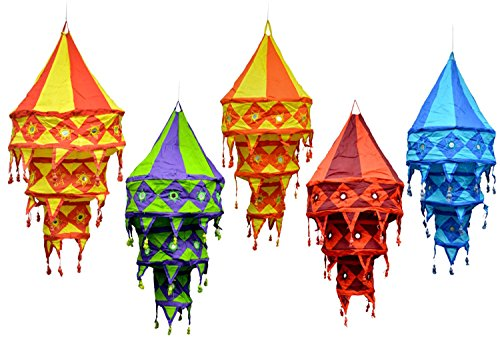 5pcs-25pcs Indian Ethnic Multi Color Hanging Lamps shades Mirror Work Home Decor 3 Layer by Amazing India