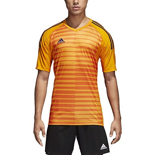 adidas AdiPro 18 Goalkeeper Jersey Short Sleeve (Lucky Orange/Unity Ink, L) (Soccer Goalie Jerseys Adidas)