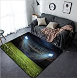 Vanfan Design Home Decorative d rendering of sport concept background - soccer football stadium with floodlights Grass football pitch with mark up and soccer goal with net Modern Non-Slip
