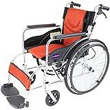 自走用車いす 車イス 車椅子 「ZEN-禅-ライト」(オレンジ) 軽量 コンパクト 背折れ 折りたたみ ノーパンクタイヤ メーカー保証1年付き カドクラ G201-OR
