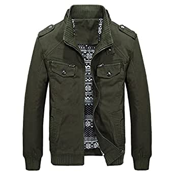 MAGE MALE Men's Military Windbreaker Jacket Cotton Bomber Stand Collar Coat X-Small Army Green