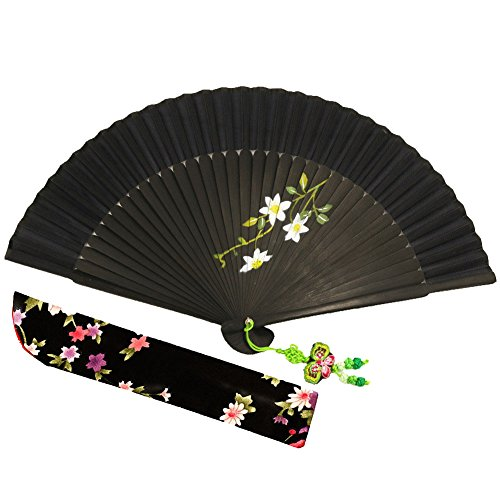 [Wise Bird Chinese Japanese Folding Hand Fan, Fashion Accessories Vintage Retro Style 7
