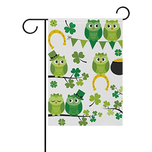 Vantaso Outdoor Garden Flag St Patrick Day Funny Owls Dressed as Leprechaun Singing on Green Trees Polyester Double Sided Printing Fade Mildew Proof for Courtyards Garden Decorative 28x40 inch