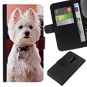 EJOY---La carpeta del tirón la caja de cuero de alta calidad de la PU Caso protector / LG G2 D800 / --West Highland White Terrier perro canina