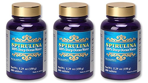 SPIRULINA 100% - Deep Ocean Water - 300tablets/500mg - 3-bottle Set, Premium Ocean Energy from Kumejima Island, Japan. by Japan Algae