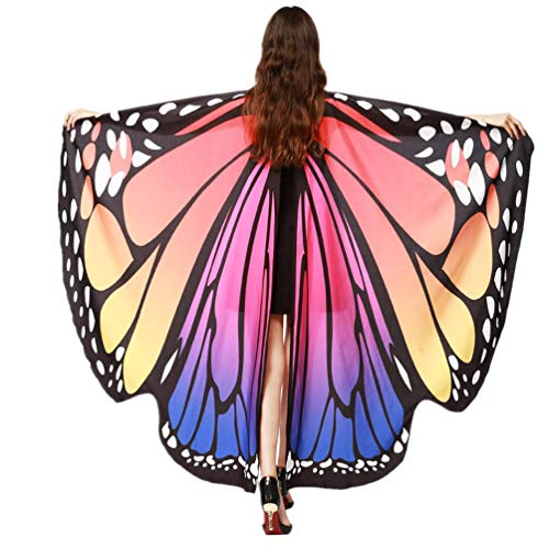 POQOQ Christmas Soft Fabric Butterfly Wings Shawl Fairy Ladies Cloak with Mask 168135CM Hot Pink -