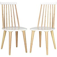 Safavieh American Homes Collection Burris Country Farmhouse Natural and White Spindle Side Chair (Set of 2)