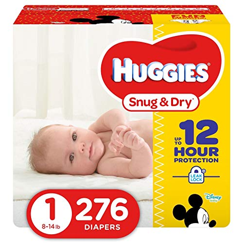 HUGGIES Snug & Dry Diapers, Size 1, 276 Count (Packaging May ()
