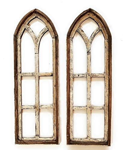 (Farmhouse Wooden Wall Windows Set of 2 -Rustic Cathedral Wood Window- Dandelion)