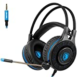 [2017 Newly Updated 3.5mm Wired Gaming Headset] SADES SA936 New Xbox One Gaming Headset Headphones With Microphone Noise Isolating for PS4 PC Laptop Smartphone (Black&Blue)