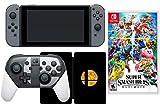 Nintendo Switch Super Smash Bros. Ultimate Collection Bundle: Special Edition Pro Controller, SSB Games, caja de acero y consola Nintendo Switch de 32 GB con gris Joy-Con Controller