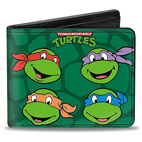 Buckle-Down Men's Wallet Classic Teenage Mutant Ninja Turtles Group Faces + Po Accessory, -Multi, One Size
