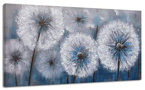 (Dandelion Painting Wall Art Canvas Print Picture for Living Room Large White Flower Flora Home Bedroom Decoration Modern Framed Artwork)