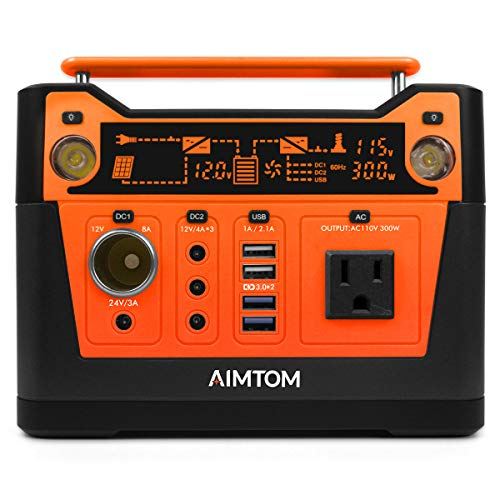 AIMTOM 300-Watt Portable Power Station - 280Wh Battery Powered Generator Alternative with 12V, 24V, AC and USB Outputs - Solar Rechargeable Lithium Backup Power - for Camping Outdoors CPAP Emergency (Emergency Portable Power Supply)
