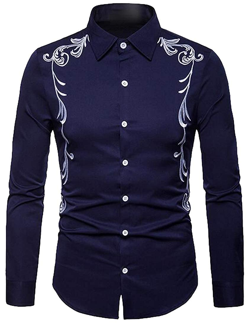 FSSE Mens Slim Long Sleeve Button Down Casual Business Embroidery Dress Shirts