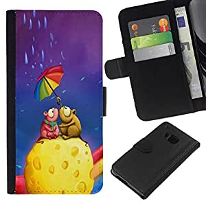 All Phone Most Case / Oferta Especial Cáscara Funda de cuero Monedero Cubierta de proteccion Caso / Wallet Case for HTC One M9 // Cute Mouse Couple Cheese