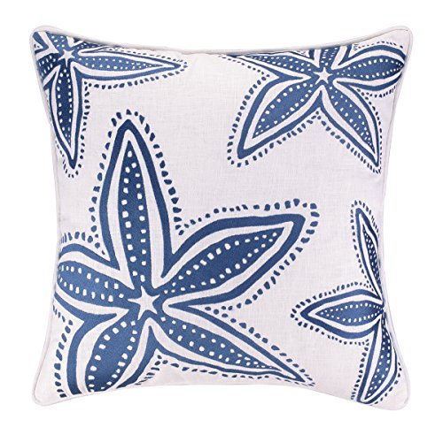Nantucket Nautical Throw (Kate Nelligan Starfish Navy Embroidered Linen Pillow, 20 by 20-Inch)