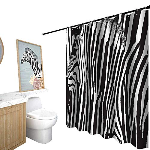 StarsART Shower Curtains Set Vintage,Zebra Print Decor Collection,Zebra Design with Animal Blended Over Itself to Create an Abstract Pattern,Shower Curtain for Girls Bathroom,W36 x L72,Black White (Zebra Footstool Print)