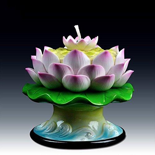 (YQ WHJB Candle Holder Lotus Candle Stick Holders Oil Lamp Ceramic Long Ming Buddha Headlights-B)