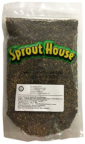 The Sprout House All Together - Certified Organic Non-gmo Sprouting Seeds Green Kale, Broccoli, Yellow Mustard, Red Cabbage 1 LB