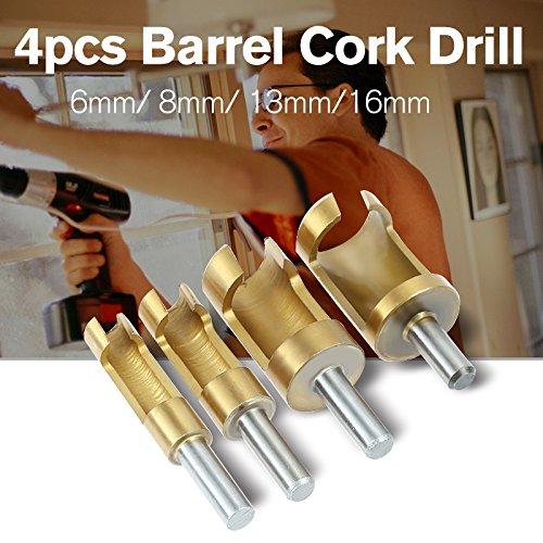 (HOEN 4pcs Wood Plug Hole Titanium Coated Cutter Drill Bits Set 1/4 3/8 1/2 5/8 Cutting Dowel Power Woodworking Cork Hole Saw Tool Round Wood Plug Tenon Drill Bit Set)