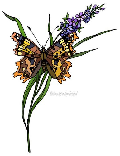 Brown & Yellow Butterfly with a Purple Flower - Vinyl Stained Glass Film, Static Cling Window (Purple Butterfly Stained Glass)