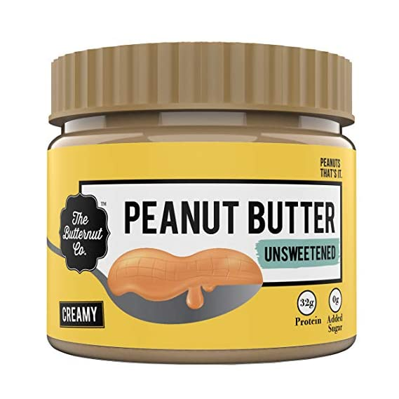 The Butternut Co. Peanut Butter Unsweetened, Creamy 340 gm (No Added Sugar, Vegan, High Protein, Keto)
