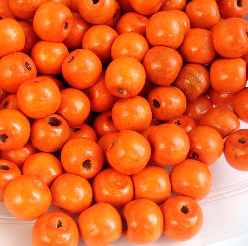 BeadsTreasure 50 Orange Dyed Round Wood Beads 12 (Orange Wood Bead)