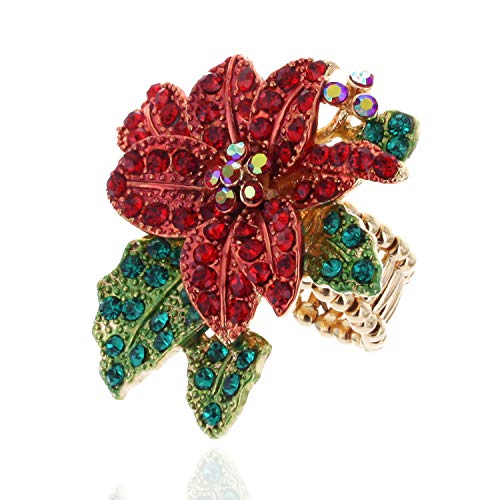 (SP Sophia Collection Poinsettia Embellished Rhinestone Stretch Ring in Red Green and Gold)