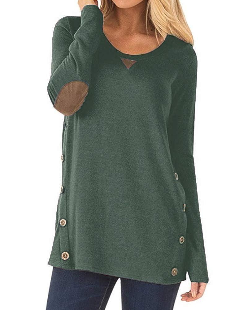 Dark Green Aliex Women's Tunic Top Casual Long Sleeve Blouse TShirt Faux Suede Button Decor