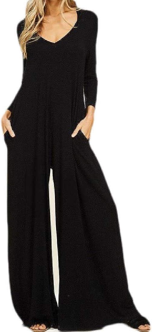 Fubotevic Women Wide Leg Long Sleeve Fashion Pockets V Neck Hoodie Romper Jumpsuits