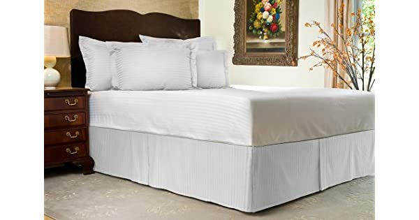 Harmony Lane Tailored Bedskirt with 14 Drop White Sateen Stripe Bed Skirt with Split Corners Queen Size Available in and 10 Colors Shop Bedding 3714QWHT