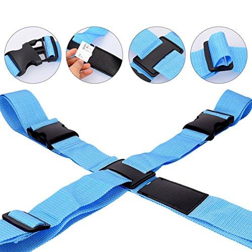 Seguridad Maletas Kwmobile Cruz En De Protección Cinta Ajustable Color 1x Correa Cinturón Azul Maleta Equipaje Forma Para Awqv0rxE4q