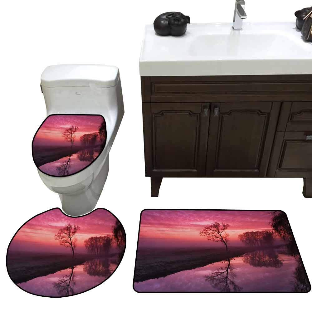 Toilet Cover pad Set of 3 Tree Misty Sunrise on The River Reflection Woodland Misty Morning Panoramic Picture Elongated Toilet Lid Cover Set Fuchsia Brown