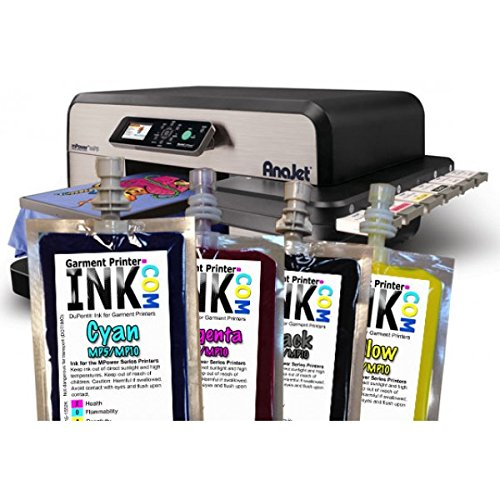 DuPont CMYK ink Bag Set for the Anajet mPower MP5 and MP10 by Garment Printer Ink