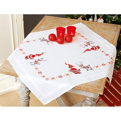 (Vervaco Christmas Elves Tablecloth Stamped Cross Stitch Kit, 32