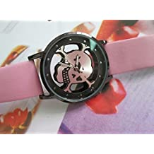 Unisex Hollow Skull Dial Pu Leather Band Wrist Watch Cool Designer Women Dress Wristwatch For Ladies