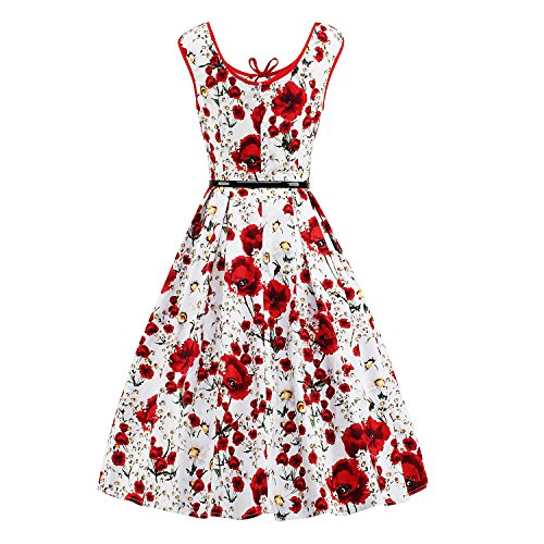 iLover Sleeveless Party Floral Cocktail Floral Swing 50s White Garden Vintage Dress Red rt6wXr
