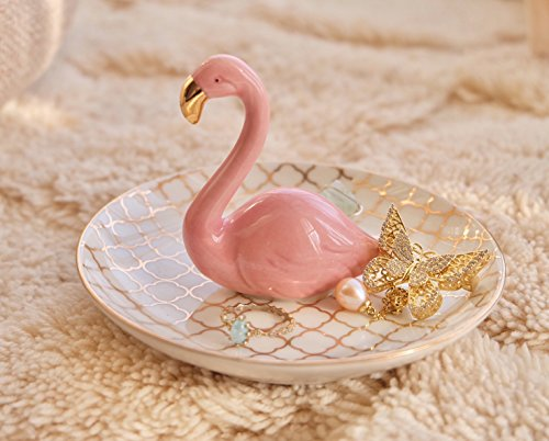 PUDDING CABIN Flamingos Ring Dish Holder Engagement Wedding Gift Ring Display Earrings Necklace Bracelet Jewelry Tray by PUDDING CABIN (Image #8)