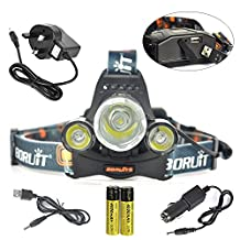 BORUIT RJ-5000 6000 Lumens Bright Headlight Headlamp Flashlight Torch CREE XM-L2 3 T6 3T6 LED with Rechargeable Batteries & Wall Charger for Hiking Camping Riding Fishing Running Hunting