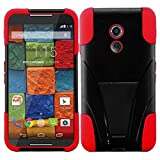 HR Wireless Motorola Moto X (2014) T-Stand Cover Case - Retail Packaging - Black/Red