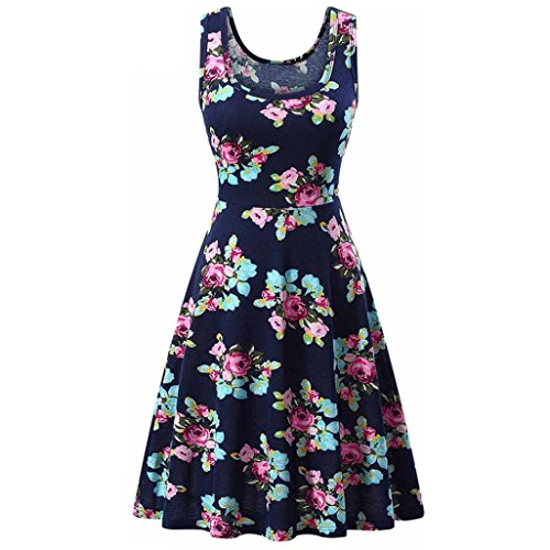 DongDong Hot Sale! Ladies Sexy Dress Printing Sleeveless Beach A Line Floral Dress