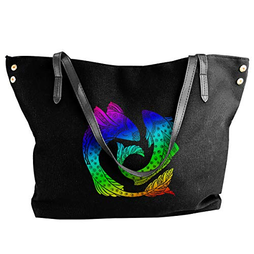 Women's Canvas Large Tote Shoulder Handbag Pisces Tribe Handbags
