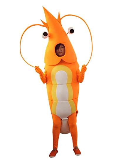 orange shrimpprawn mascot costume adult size cartoon halloween fancy dress suit