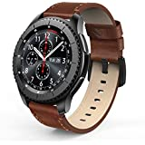SWEES Leather Bands Compatible Gear S3 Frontier & Classic and Galaxy Watch 46mm, Genuine Leather 22mm Strap Replacement Wristband Compatible Samsung Gear S3 Smartwatch, Dark Brown