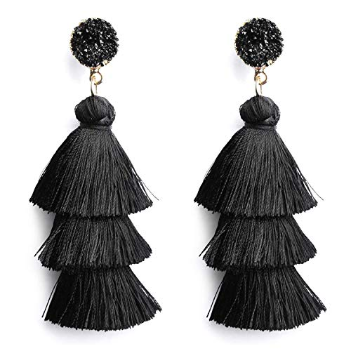 Tassel Earrings Bohemian Dangle Drop Tiered 3 Layered Tassel Druzy Stud Earrings Women Girls Gifts (Black)