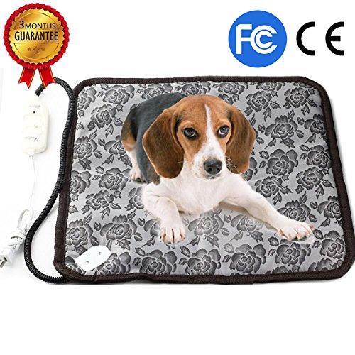 RIOGOO Dog Cat Electric Heating Pad, Pet Heating Pad Indoor Waterproof Adjustable Warming Mat with Chew Resistant Steel Cord - Heating Cat