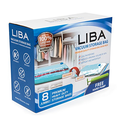 LiBa Space Saver Vacuum Storage Bags (Pack of 8) with FREE Hand Pump - for Clothes Blankets Duvets Comforters Pillows Travels, Works with Any Vacuum Cleaner, Save Space by 80% (1, Jumbo)